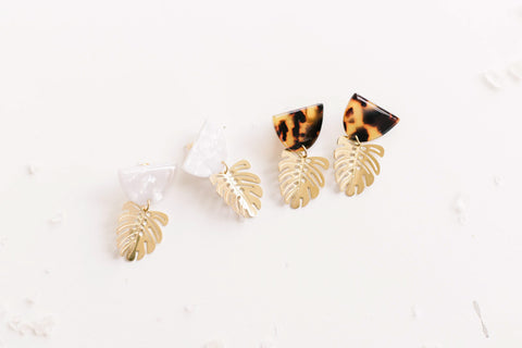Shipping Late July (Available for PRE-ORDER ONLY) Acetate Tortoise Shell Brass Leaf Earrings
