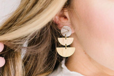 Shipping Mid August (on Backorder) Double Half Moon Brass Stud Earrings