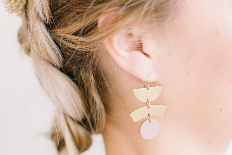 Geometric Blush Brass Earrings