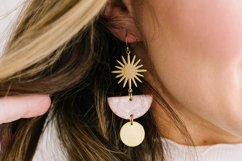 Tortoise Shell Starburst Brass earrings