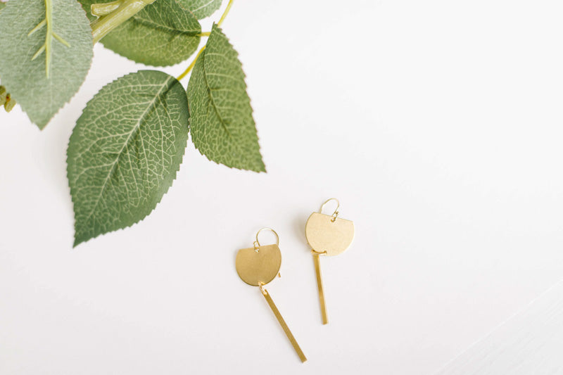 Half Round Dangle Brass Earrings