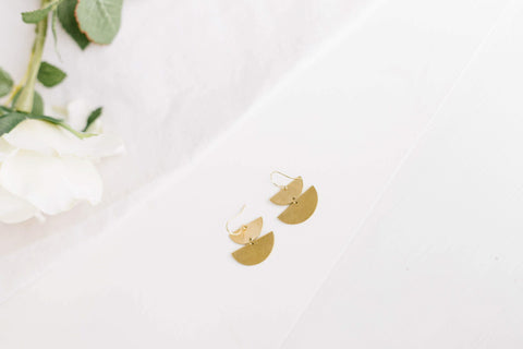 Half Moon Brass Earrings