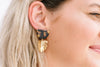 Acetate Tortoise Shell Brass Leaf Earrings