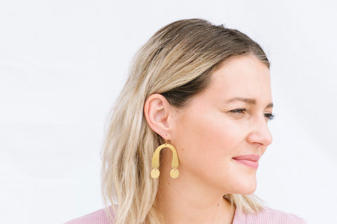 U Shape Brass Earrings