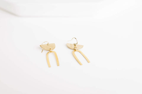 Mini Geometric Brass Earrings