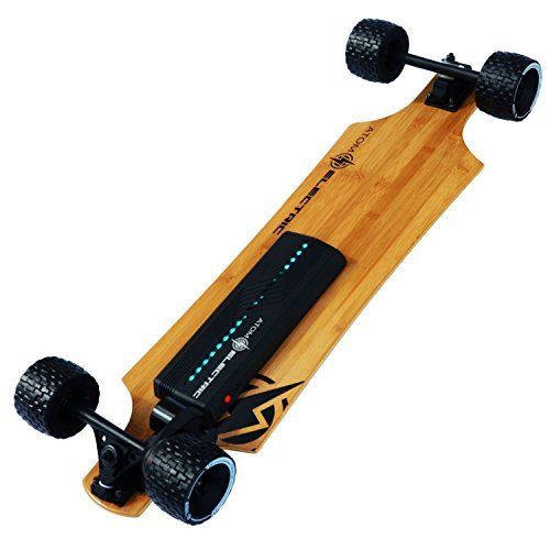Atom Longboards Electric B10X All Terrain Longboard Skateboard (90Wh Lithium Battery & 1000W Motor), Wood - Charged Riders