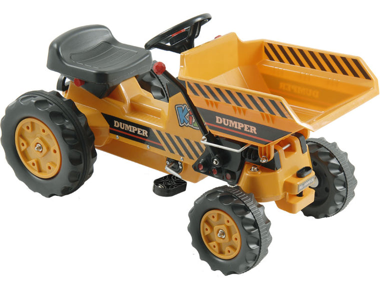 Kalee Pedal Tractor with Dump Bucket Yellow - Charged Riders