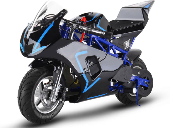 MotoTec Gas Pocket Bike GP 33cc 2-Stroke Blue - Charged Riders