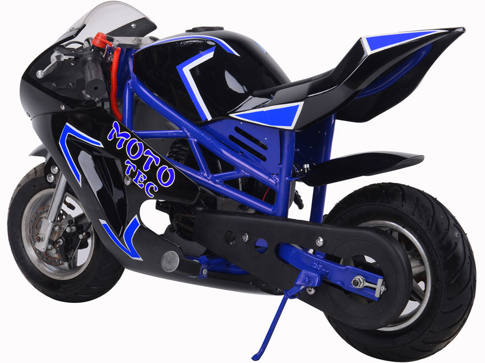 MotoTec Gas Pocket Bike GT 49cc 2-Stroke Blue - Charged Riders