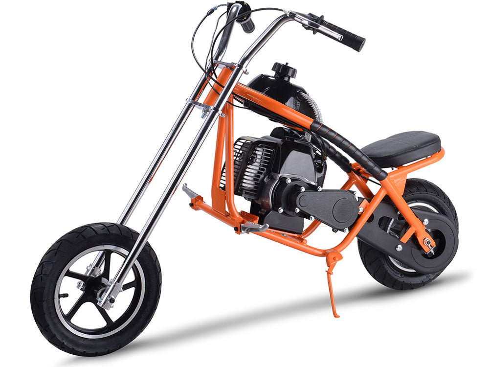 MotoTec 49cc Gas Mini Chopper Orange - Charged Riders