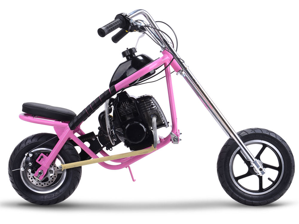MotoTec 49cc Gas Mini Chopper Pink - Charged Riders