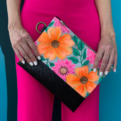 Bold Flowers Hand Painted Clutch