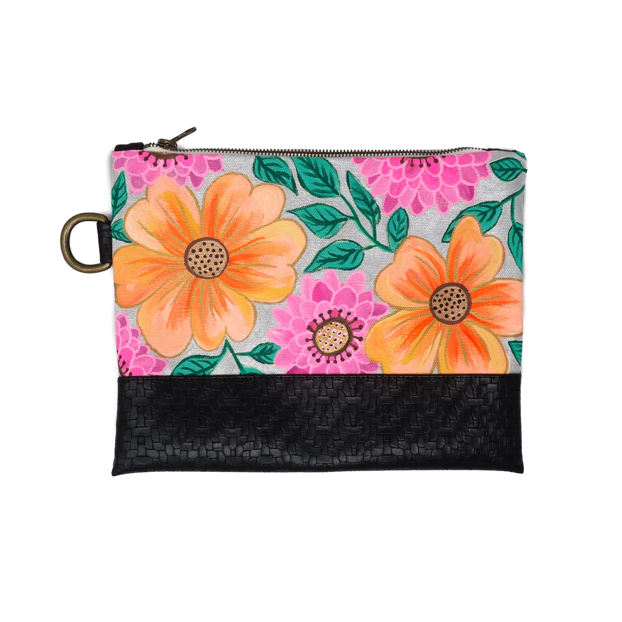 Bold Flowers Hand-Painted Clutch