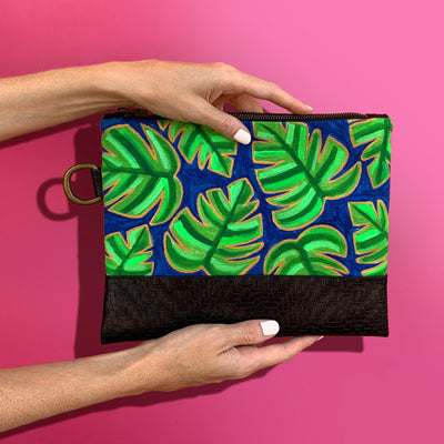 Palm Hand-Painted Clutch