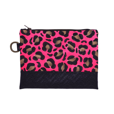 Hot Pink Leopard Hand-Painted Clutch