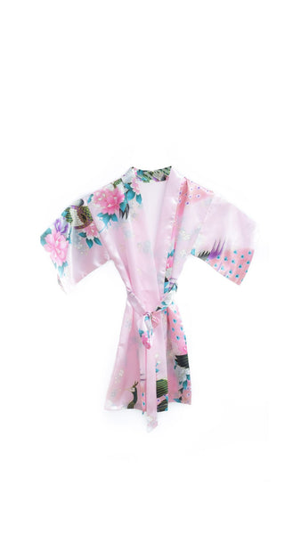 Satin Kid's Kimono Robe in Silk Blush - pasteldress