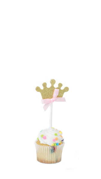 Crown Cake Topper- Pack of 5 - pasteldress
