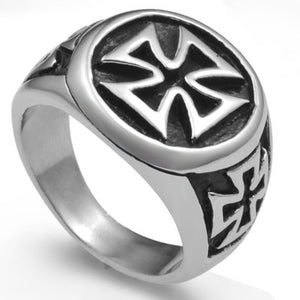Men's Iron Cross and Flames Stainless Steel Ring