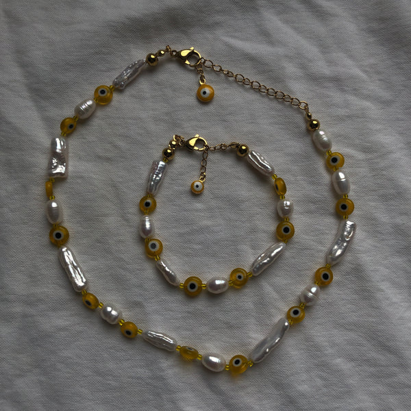 Yellow Evil Eye Pearl Necklace
