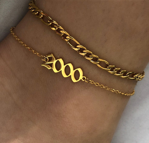 Year gold anklet