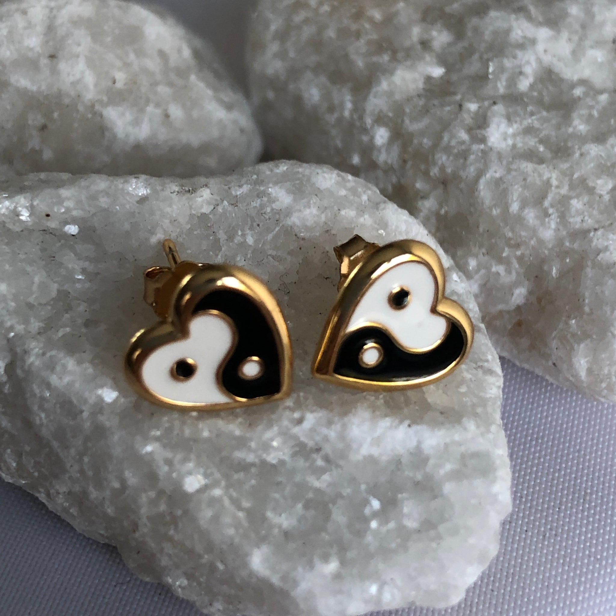 Yin and Yang stud earrings