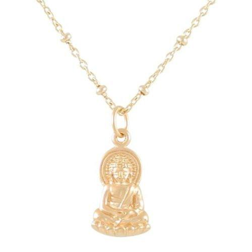 Small Sitting Young Buddha Pendant in Sterling Silver on 18 Rhodium Plated Sterling Silver Bead Chain 8441