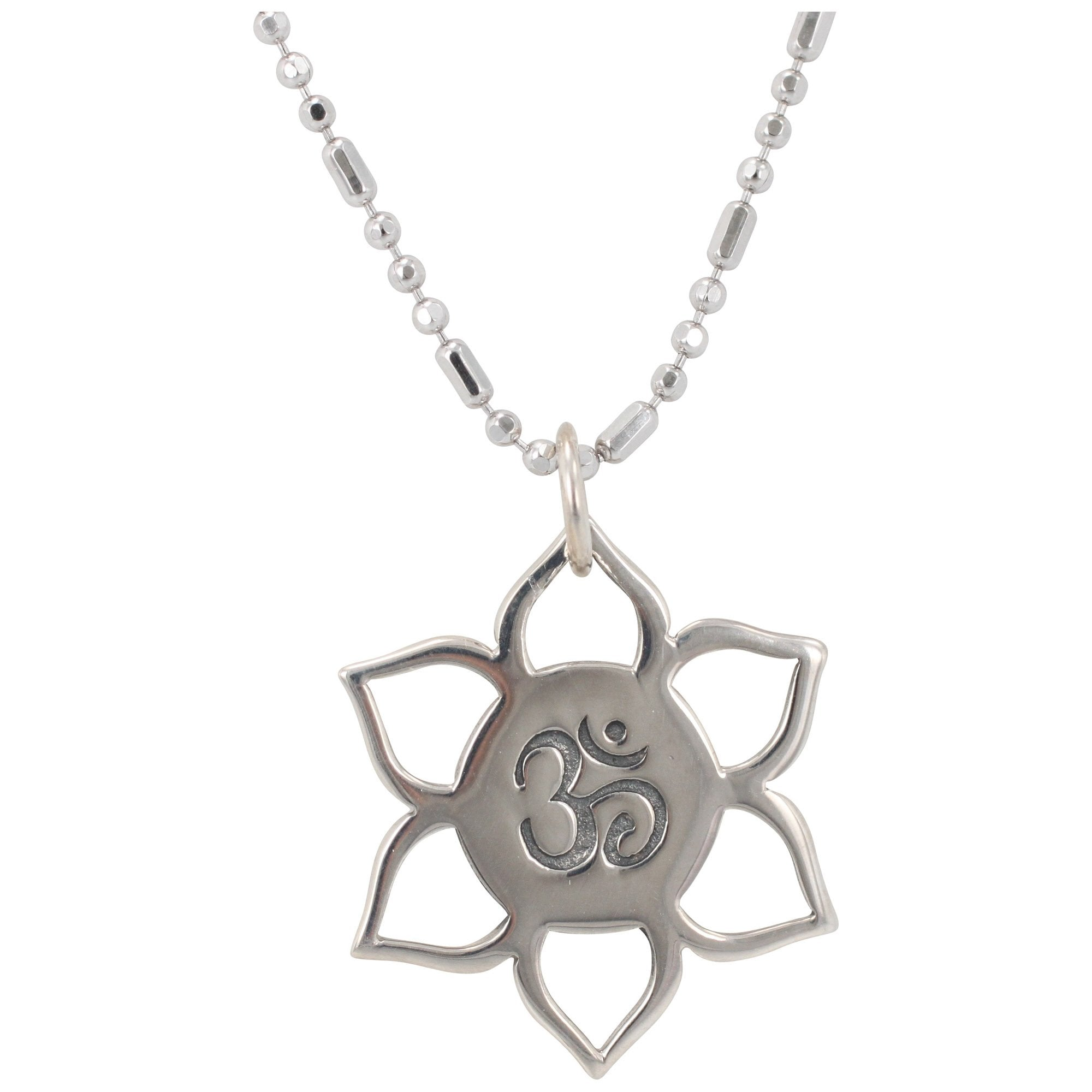 Small Lotus Flower And Om Necklace 6187 Ss Zoe Piper Wholesale