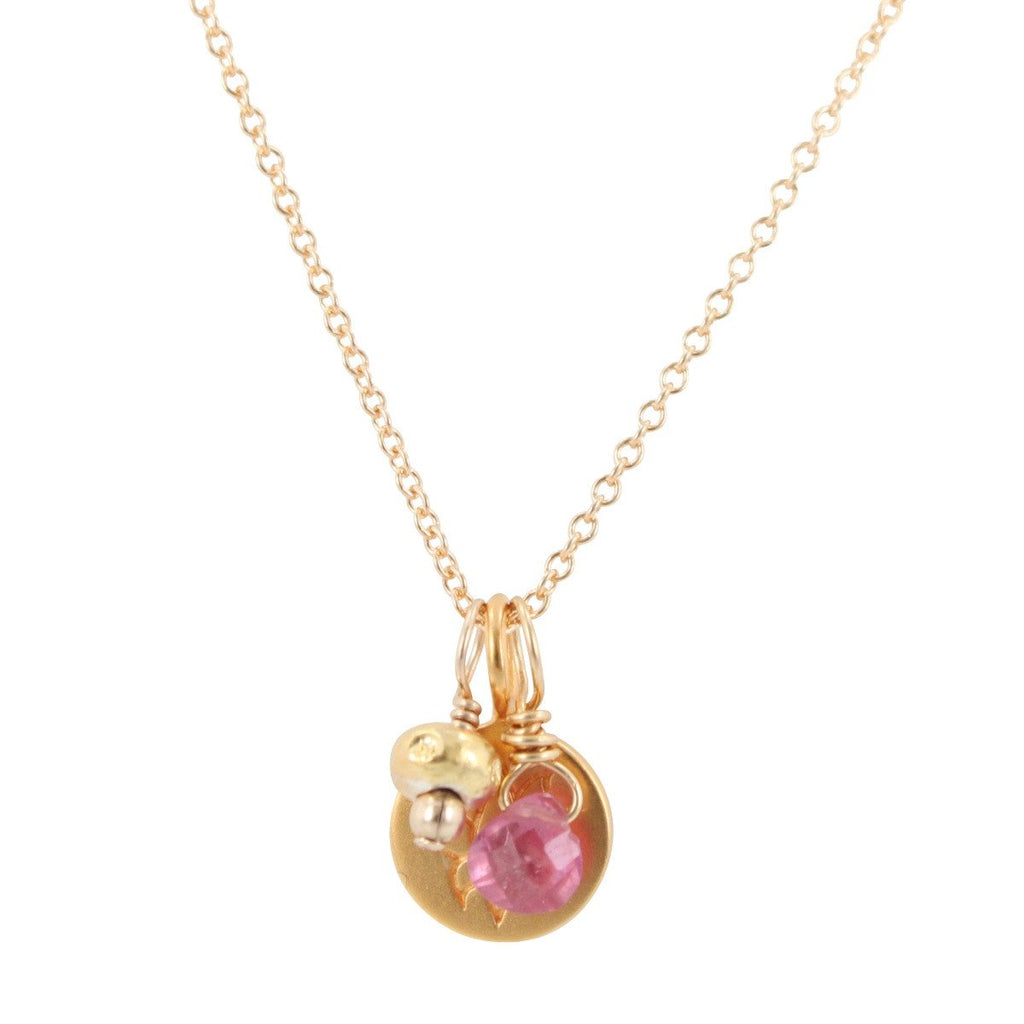 Lotus Flower Charm Necklace With Pink Sapphire 6540 Yg Zoe