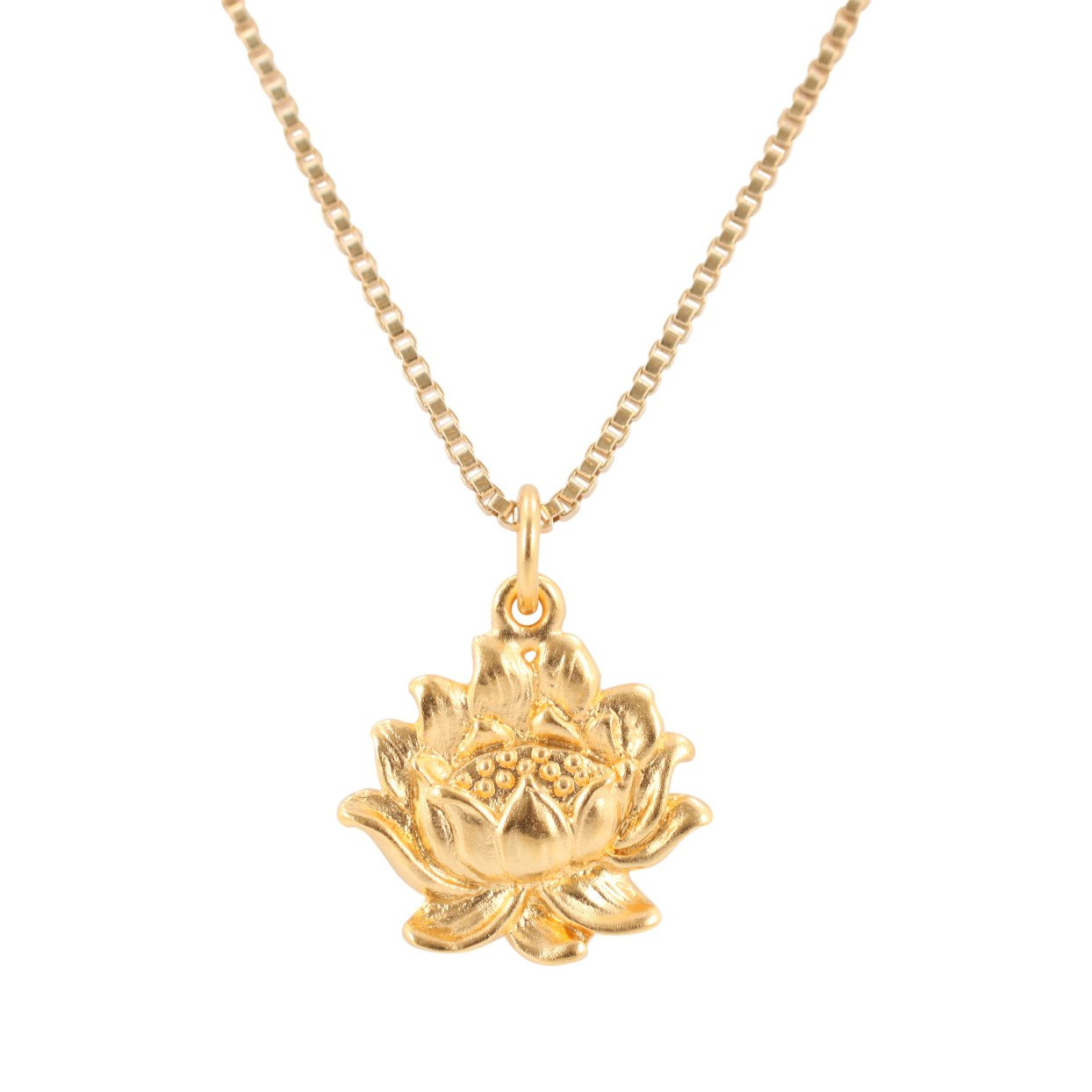 24k Gold Plated Sterling Silver Lotus Flower Necklace 7021 Yg