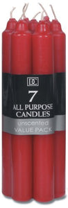 Darice Unscented Taper Candles, 7-Inch, Red, 7-Pack