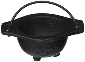 New Age Imports Inc. Small Pentagram Cast Iron Cauldron, 3 inches diameter