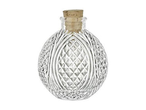 Spherical Crystal Cut Clear Glass Bottle with Cork, 4 oz