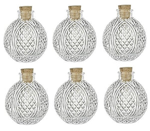 Set of 6 Spherical Clear Glass Bottle, 4 oz w/ Cork