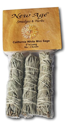 California Mini Sage Wands, 4-Inch, Pack of 3, White