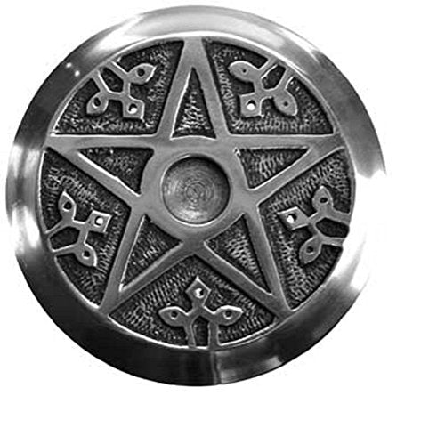Pentacle Incense Metal Burner Round 4.5 inch  Altar Tile