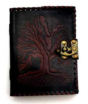 Black Tree Of Life Leather Blank Book W- Latch