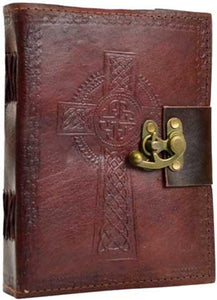 "6"" X 8"" Celtic Cross Leather Blank Book W- Latch"