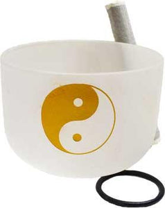 "18"" White Yin Yang Crystal Singing Bowl"