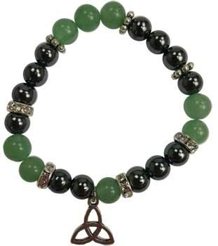 8mm Green Aventurine- Hematite With Triquetra