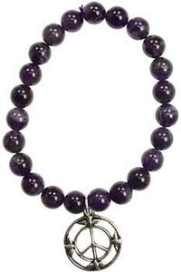Amethyst Peace Sign Silver