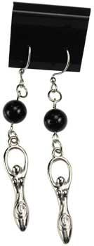 Black Onyx Goddess Earrings