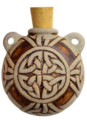 Celtic Knot Raku Oil Bottle
