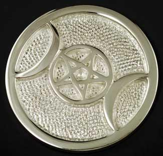 Silver Plated Triple Moon Altar Tile 3 1-2