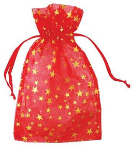 "4"" X 5"" Red Organza Pouch W- Gold Stars"
