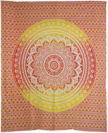 "84"" X 96"" Ombre Red Orange Mandala Tapestry"
