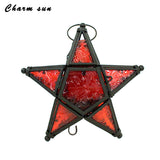 Iron and Glass Pentagram Candle Lantern