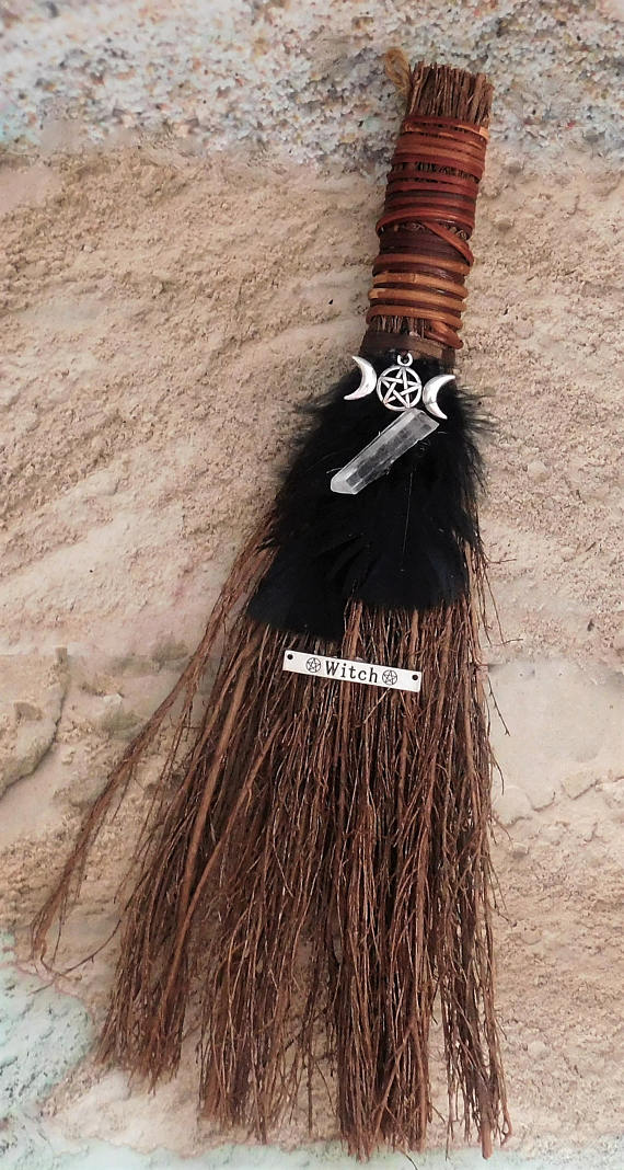 TRIPLE GODDESS Broom Besom w/ Quartz ~ 12