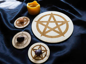 "Handmade Pentacle Large 8"" Altar Tile Wooden"