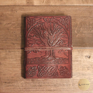 "5"" X 7"" Tree Of Life Leather Blank Book W-cord"