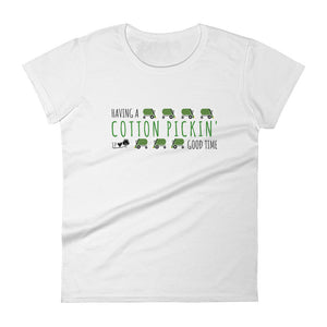Cotton Pickin Good Time (green print) Women's short sleeve t-shirt